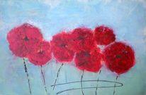 Blau, Roter mohn, Struktur, Blumen