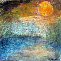 Schilf, Acrylmalerei, Abendrot, Wasser
