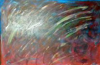 Blau, Rot, Spachteltechnik, Acrylmalerei