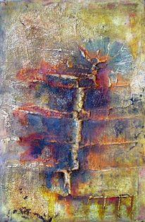 Spuren, Marmormehl, Acrylmalerei, Kasein