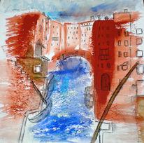 Canale grande, Venedig, Aquarellmalerei, Spachtel