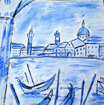 Aquarellmalerei, Mischtechnik, Blau, Canale grande