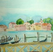 Baum, Venedig, Blau, Gondel
