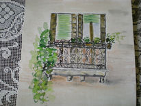 Balkon, Aquarell, Venedig