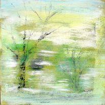 Grün, Winter, Acrylmalerei, Kalt
