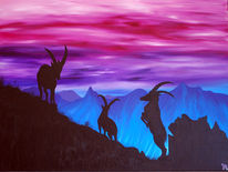 Violett, Acrylmalerei, Steinbock, Berge