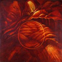 Temperamalerei, Psychedelisch, Rot, Höhle