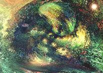 Digitale malerei, Umwelt, Fisch, Aquarellmalerei