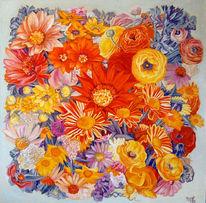 Bunt, Blumen, Ölmalerei, Malerei