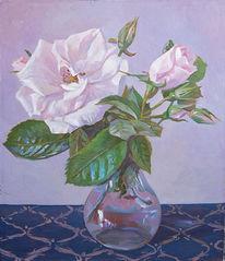 Rose, Bunt, Pflanzen, Ölmalerei