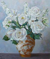 Pflanzen, Rose, Ölmalerei, Bunt