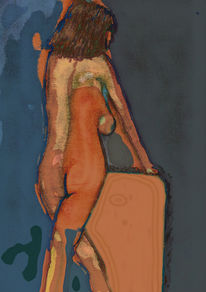Surreal, Gemälde, Gesicht, Akt