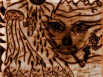 Fliegenpilz, Gesicht, Bleistiftzeichnung, Augen