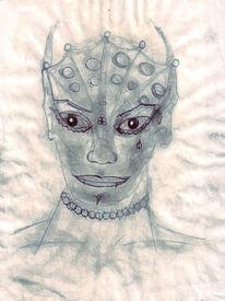 Erde, Bleistiftzeichnung, Gesicht, Aquarellmalerei