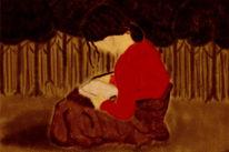 Farben, Rot, Mädchen, Gemälde