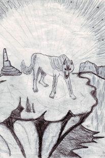 Berge, Kohlezeichnung, Wüste, Wolf