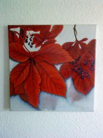 Malerei, Stillleben, Herbst, Blätter