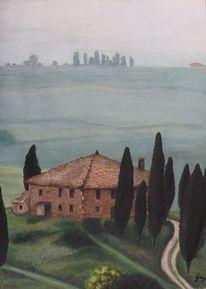 Mediterran, Toskana, Aquarellmalerei, Grün