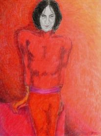 Portrait, Rot, Tänzer, Zeichnungen