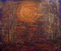 Baum, Relief, Düster, Wald