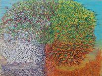 Bunt, Sommer, Struktur, Baum frühling