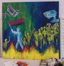 Menschen, Bunt, Acrylmalerei, Kritik
