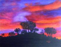 Farben, Leuchtend, Afrika, Sonnenuntergang