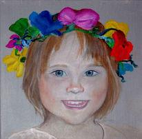 Mädchen, Haarkranz, Portrait, Malerei