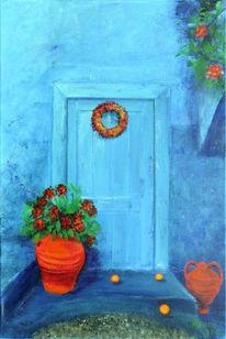 Haus, Blau, Blumen, Tür