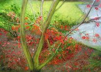 Herbst, Blutahorn, Blätter, Baum