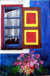 Fensterladen, Sommer, Griechenland, Blau