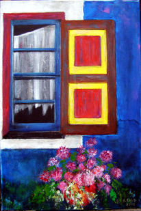 Fenster, Altes haus, Fensterladen, Sommer