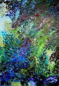 Frühling, Blätter, Strauch, Malerei