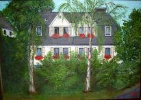 Baum, Blumen, Walmdach, Haus