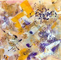Gelb, Lila, Spachteltechnik, Malerei
