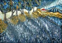 Baum, Lavendelfeld, Horizont, Berge