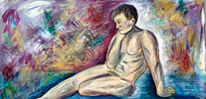 Sitzen, Akt, Männlich, Malerei