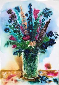 Rittersporn, Sommerstrauß, Rose, Vase