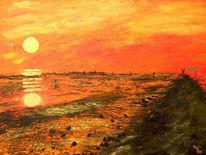 Watt, Meer, Abend, Sonnenuntergang