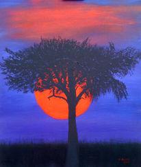 Malerei, Sonnenuntergang, Afrika
