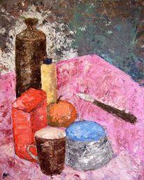 Tasse, Flasche, Zuckerdose, Stillleben