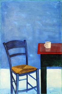 Stuhl, Griechenland, Blau, Kaffee