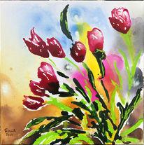 Tulpen, Rot, Farben, Malerei
