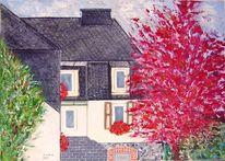 Walmdach, Wohnhaus, Gartenansicht, Blutahorn