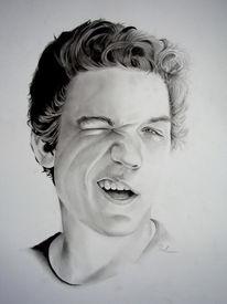 Portrait, Ausdruck, Bleistiftzeichnung, Pinnwand