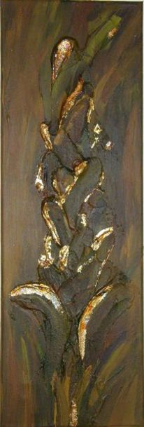 Gold, Blattgold, Acrylmalerei, Blumen