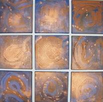 Acrylmalerei, Blau, Kupfer, Malerei