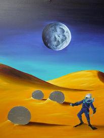 Taucher, Wüste, Acrylmalerei, Mond