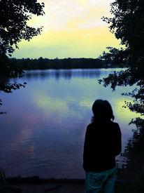 Abend, Zwielicht, Menschen, See