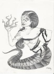 Schlange, Bleistiftzeichnung, Meer, Zeichnungen